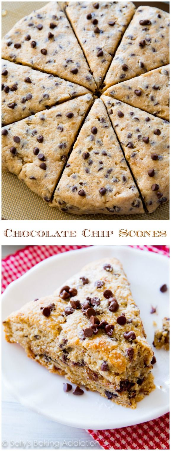 Melt-in-your-mouth chocolate chip scones. Tender and moist inside with a slight crunch on the edges, these are perfect!