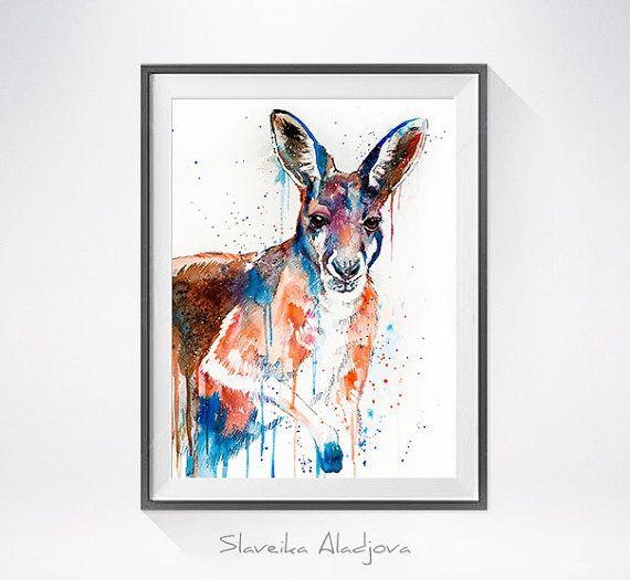 Kangaroo watercolor painting print animal watercolor by SlaviART