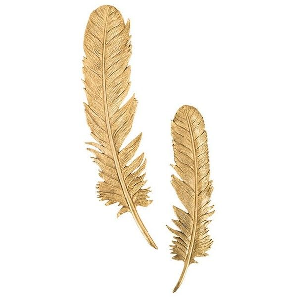 Feathers wall art, gold leaf, set of 2 sculpture ($369) ❤ liked on Polyvore featuring home, home decor, wall art, gold leaf wall art, feather sculpture, 2 piece wall art, twin pack and feather wall art
