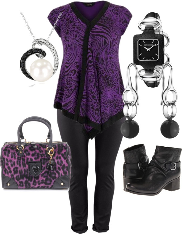 """Black, silver and Purple - Plus Size"" by intcon on Polyvore"
