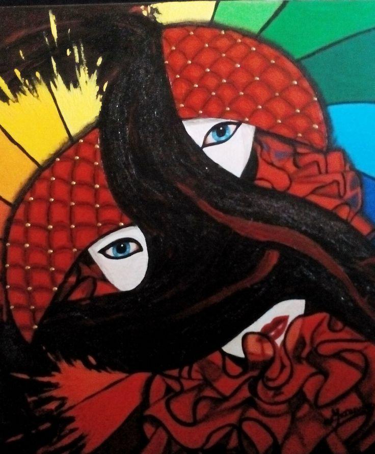Masque de Venise arlequin. Peinture acrylique, Christine Monsion
