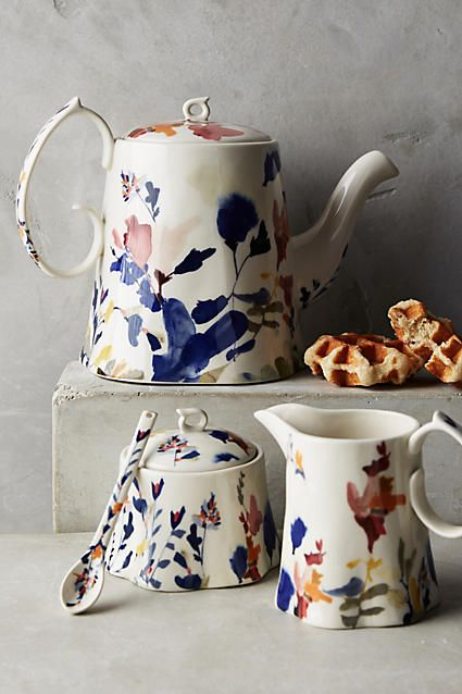 Wildflower Study Teapot. This teapot is rich in colours and contrast, with its abstract motifs inspired by natural forms. An essential to any tea party.