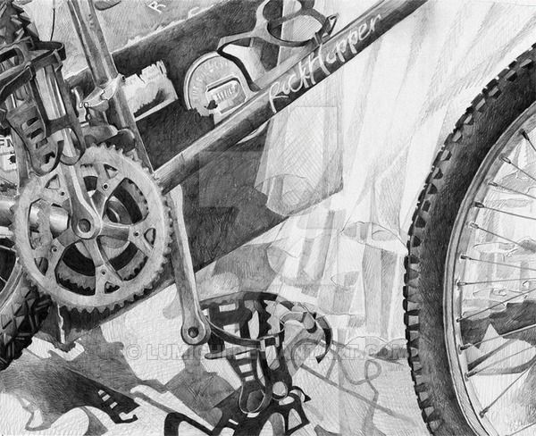Drawing for my RISD application! (the dreaded bike drawing) it was actually my favorite to draw Drawn from life, pencil
