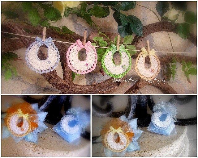 Mini-bavaglini crochet. Bomboniere nascita/battesimo