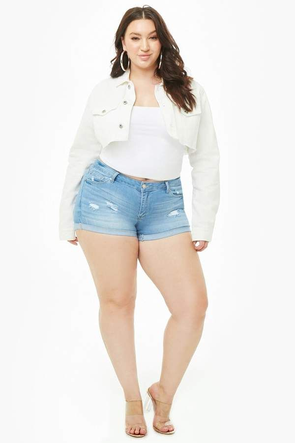 fcb0ac5d99aa6 Forever 21 Plus Size Distressed Cuffed Denim Shorts