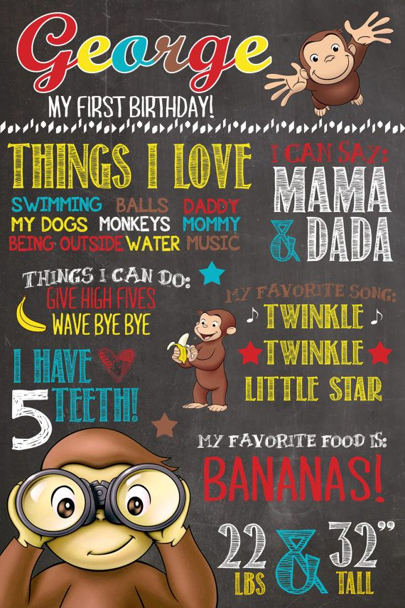 Curious George Birthday Chalkboard First by PlayOnWordsArt on Etsy