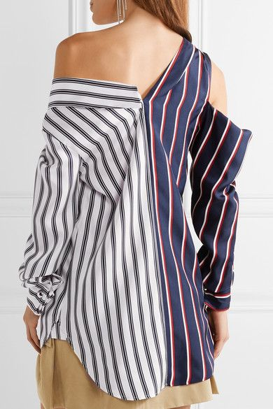 MONSE Cold-shoulder striped silk-satin shirt
