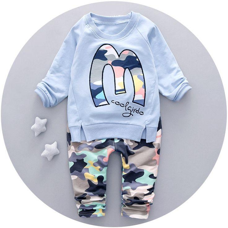 >> Click to Buy << Autumn Winter Baby Boys Sets Letter Pullover Sweatshirts Tops + Camouflage Casual Pants Kids 2pcs Suits conjunto roupas de bebe #Affiliate