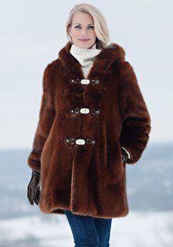Copper Mink Hooded Faux Fur Coat