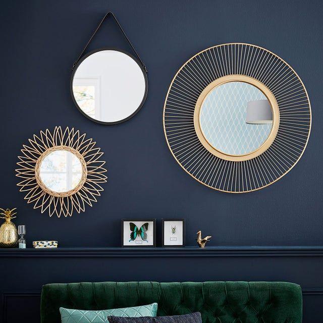 Miroir Rond Ondulation Metal Doree Diam 80 Cm En 2020 Miroir Deco Miroir Salle A Manger Et Deco Mural Scandinave