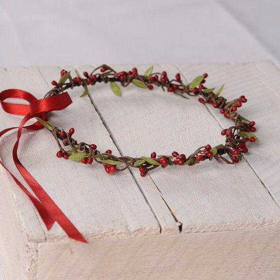 Red Berry Crown, Rustic Headband, Woodland Wreath, Floral Wedding Hair Piece, Bridal Flower Headpiece, Circlet, Australian Made Hair Wreath    This