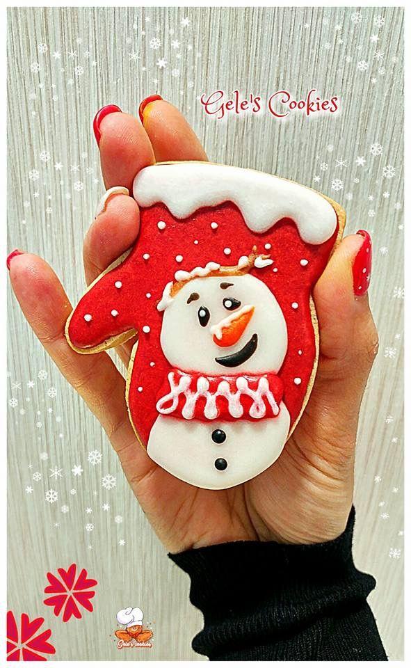 Galleta royal icing manopla muñeco de nieve Snowman cookie