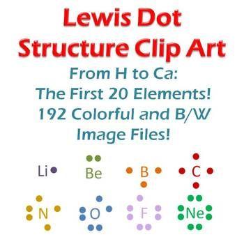 Lewis Structure Clip Art: 20 Elements, Dots, and Atoms ...