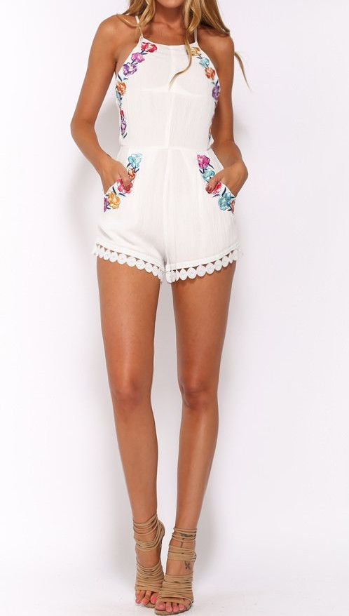 Josie White Embroidery Backless Romper