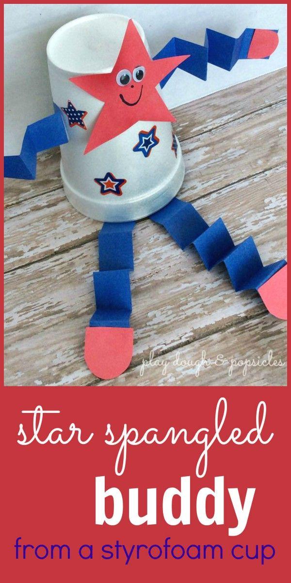 Star Spangled Buddy - Styrofoam Craft For Kids - Preschool Patriotic Craft - Red White