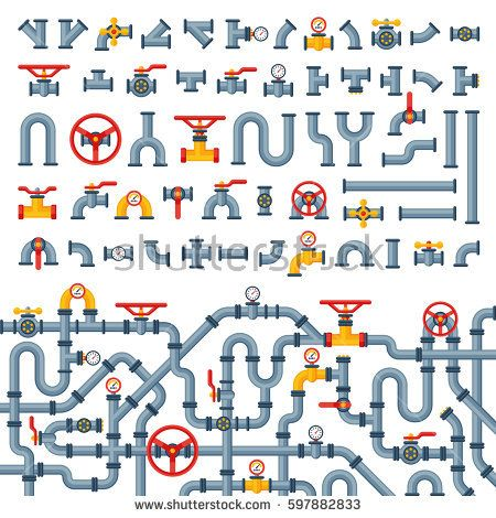 Details pipes different types collection of water tube industry gas valve construction and oil industrial pressure technology plumbing vector illustration.