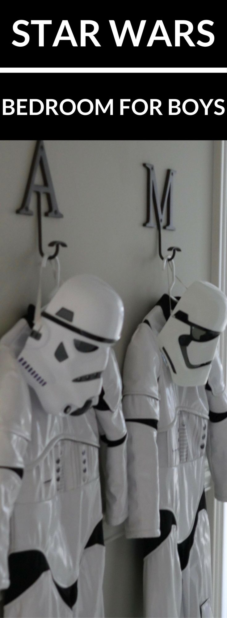 Decorating for one boy can be fun, decorating for two boys can be a challenge! I recently design a boys bedroom for our identical twin boys in the Star Wars theme. I wanted it to last and Benjamin Moore Brushed Aluminum paint and furniture from Pottery Barn. Stars Wars decor for the bedroom added pops of fun but all can be changed. Get bedroom inspiration for boys here with product links to recreate a Star Wars themed bedroom!