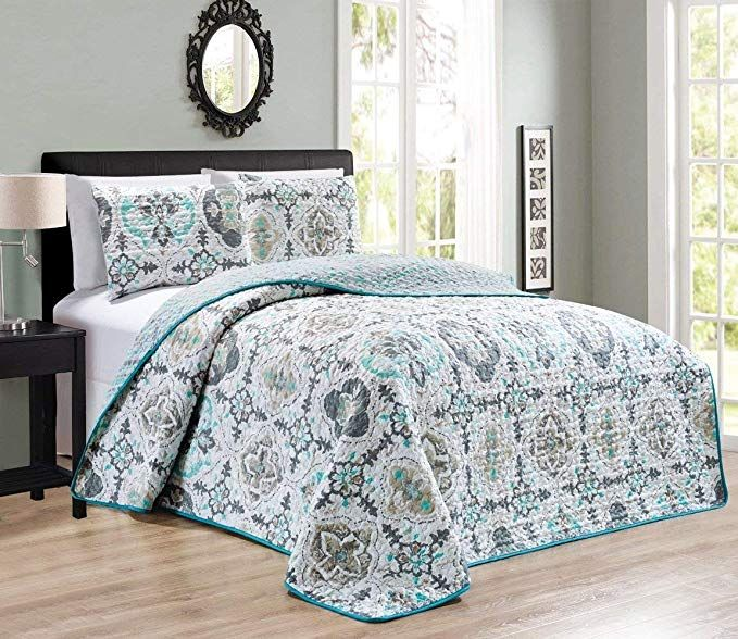 3 Piece King Cal King Abstract Solid Blue Grey Reversible Bedspread Embossed Coverlet Set Bed Cover Review Bed Spreads Bedspread Set Bedding Sets