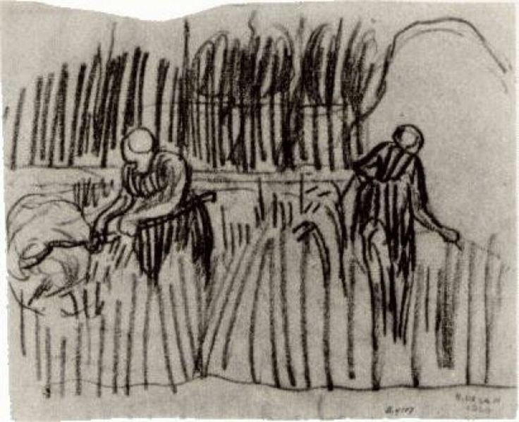 Two Women Working in Wheat Field, 1890, Vincent van Gogh