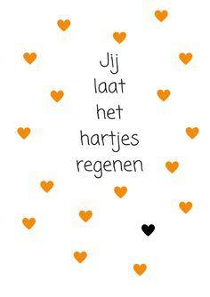 jij laat het hartjes regenen oker/oranje met zwart hartje