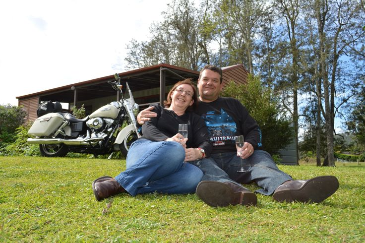 Chris and Jillian Druery celebrate their 23rd anniversary and mother's day with their new Harley Switchback at the Ripple Creek cabins.