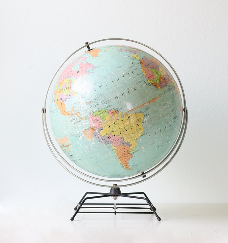 "Vintage Globe on Retro Stand - Nystrom 16"" Political Globe. $68.00, via Etsy."