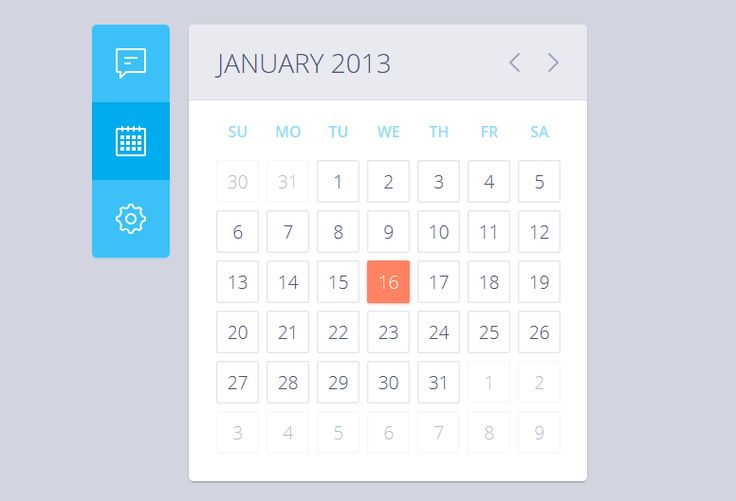Pure CSS3 Calender | Resources || Freebies || Templates ...