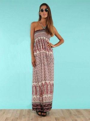 Vestido strapless de fibrana bulgaro