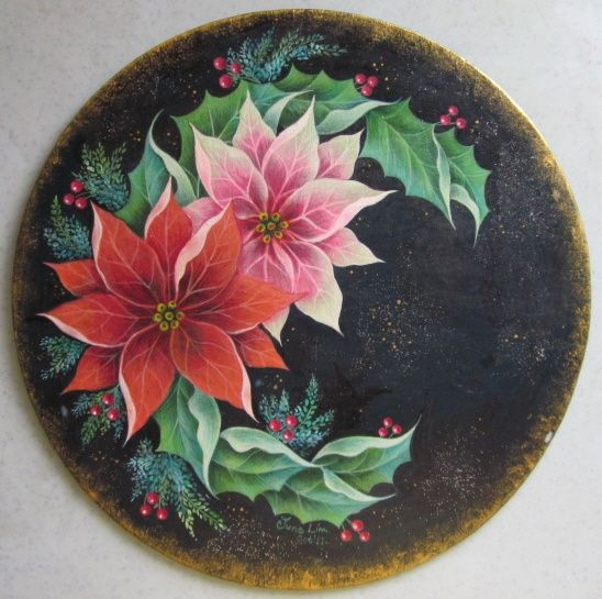 christmas tole painting | Christmas wreath | Tole Painting | Pinterest