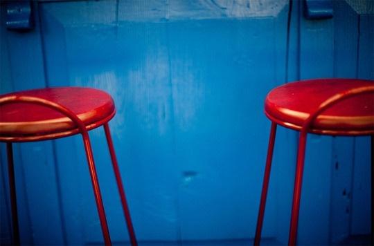 Colorful stools at Ocho Lounge at the Hotel Havana