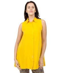 Buy Yellow plain Rayon tunics tunic online