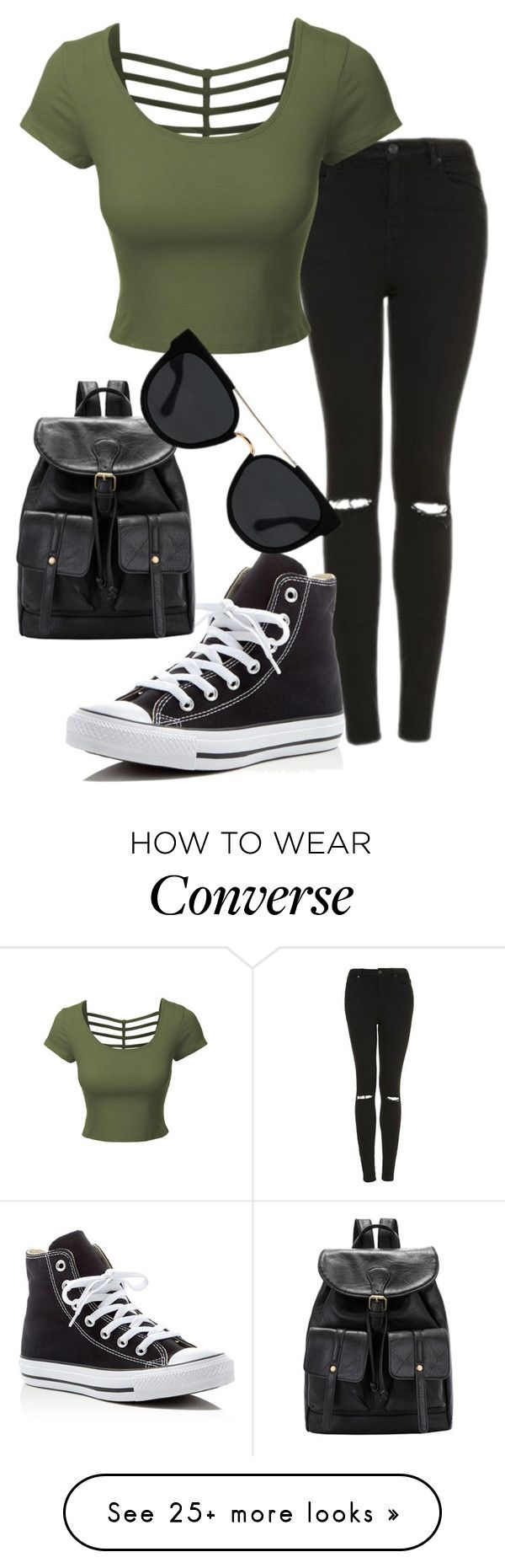 """""""Untitled #555"""" by imsarathepanda on Polyvore featuring Topshop, LE3NO, Converse and Quay"""