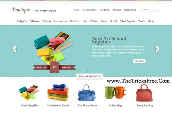 Boutique 2013 Free Blogger template - Thetricksfree