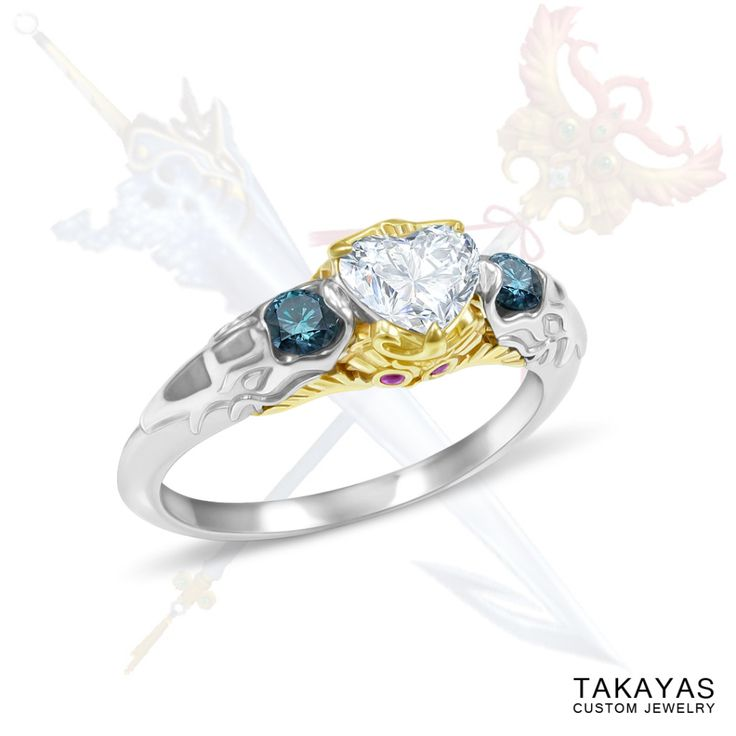 Custom Final Fantasy X engagement ring for Keira and Craig based on Tidus's Brotherhood Sword and Yuna's Nirvana staff by Takayas Custom Jewelry
