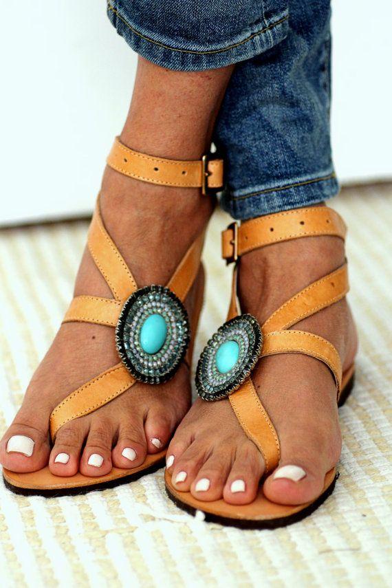 Sandals decorated with Swarovski crystals by ElinaLinardaki