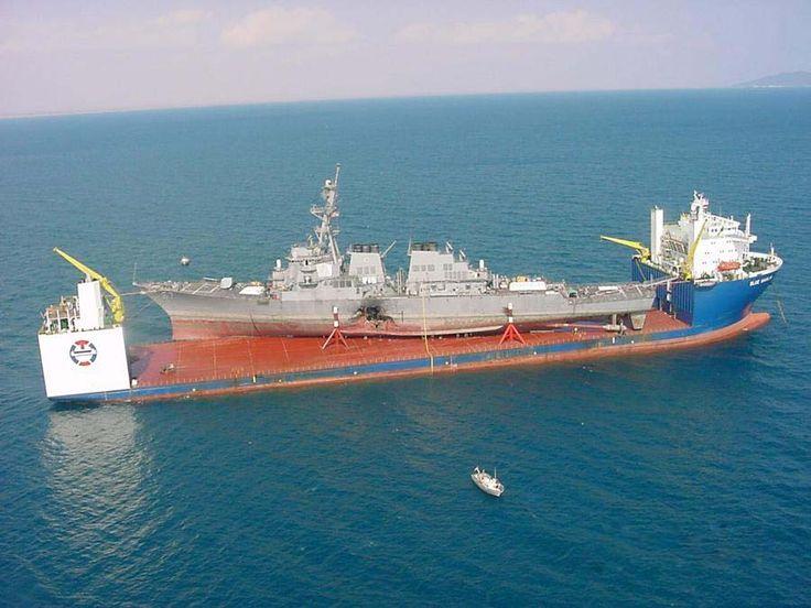 MV Blue Marlin transporting the Arleigh Burke Class Destoryer USS Cole from the coast of Yemen back to America