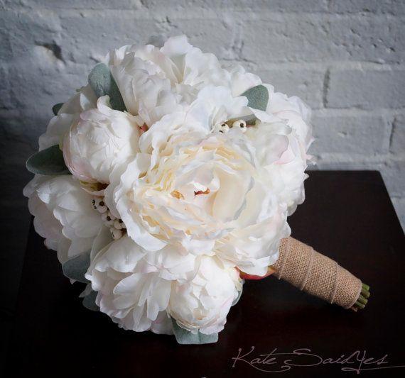 Ivory Peony Burlap Wedding Bouquet - Peony Wedding Bouquet by @Kate Said Yes (Kate), www.katesaidyes.etsy.com