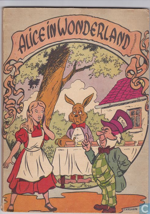 Alice in Wonderland. Year: #1956. Country: #Belgium. Illustrations: Kaerl Verschuere. Additional Info: Sheed & Ward #Dutch edition. #book #cover #art