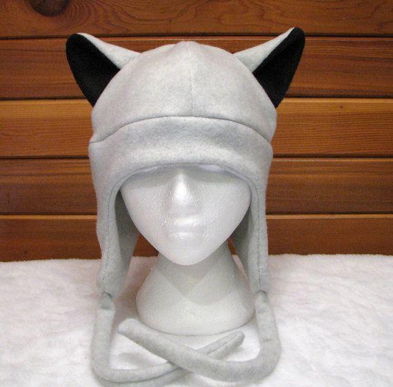 Animal Ear Hat Gray Wolf  Silver Grey Wolf Ear by ningenheadwear, $26.00