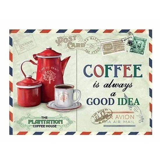 Mini koffie muurplaat Coffee Is Always A Good Idea. Mini decoratie plaat voor aan de muur in een nostalgische stijl met de tekst: Coffee Is Always A Good Idea. De wanddecoratie is ongeveer 15 x 20 cm en is gemaakt van metaal. Een leuk cadeau voor de echte koffieliefhebber!