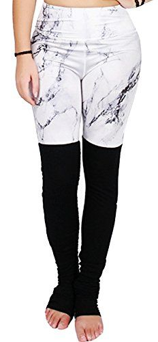 1297782c027ac Bamovo Womens Marble Pattern Printed Absolute Workout Yoga Ribbed Leggings  XS -- You can get