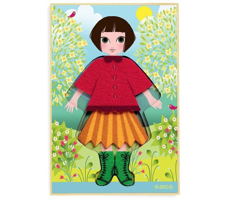 Kle på dukke-puslespill i tre fra Djeco