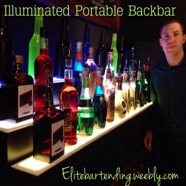 Portable LED backbar display that you can add when booking our services. Visit our website www.elitebartending.weebly.com