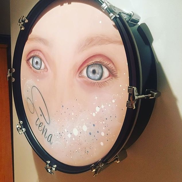 Bass drum head I painted almost a year ago now framed and up on a wall 🖤 Art by Sandra Mucciardi www.sandramucciardi.com