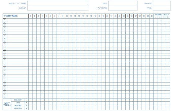 Day Care Attendance Sheet