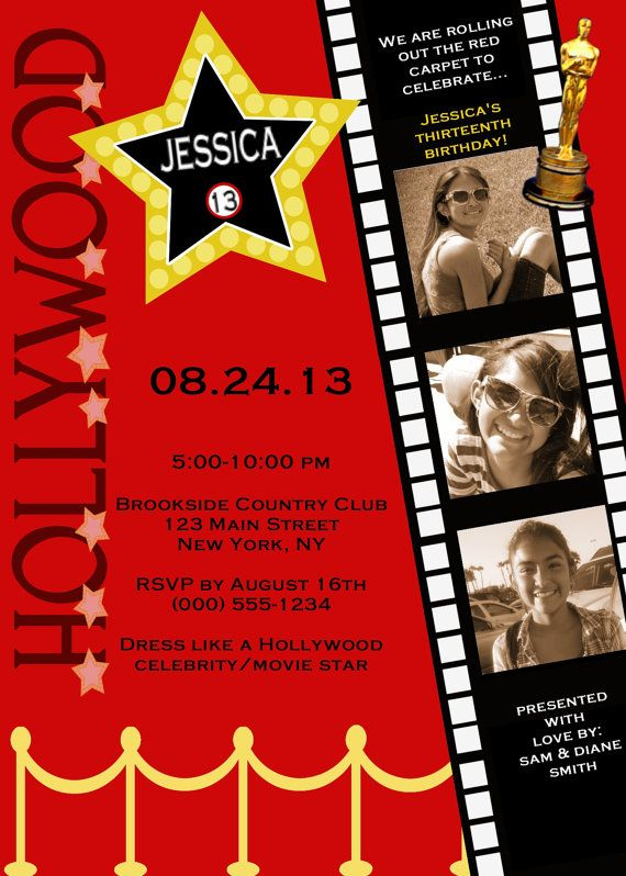 17 Best ideas about Hollywood Invitations – Hollywood Themed Birthday Invitations