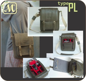 Leather Camera Bags - PL. Crossbody style. Suitable for SLR or Mirrorless: 1 Body + max 4 Lenses + Other Accessories
