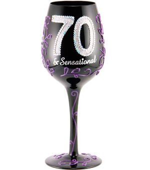 """95 and Sunny's Hand painted Wine Glasses 70 and Sensational are superb!  Present your favorite young-at-heart with a  """"70 & Sensational"""" wine glass for his/her big milestone celebration. There's no better 70th birthday gift!"""