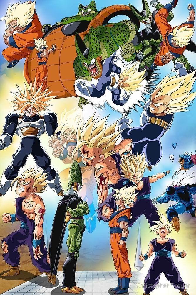 Todos Vs Cell Y Gohan Con Los Cell Jrs Y Cell Al Ultimo Dragon Ball Z Dragon Ball Anime Dragon Ball