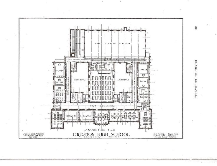 Creston High School 1922 Original Blue Prints 3rd Floor